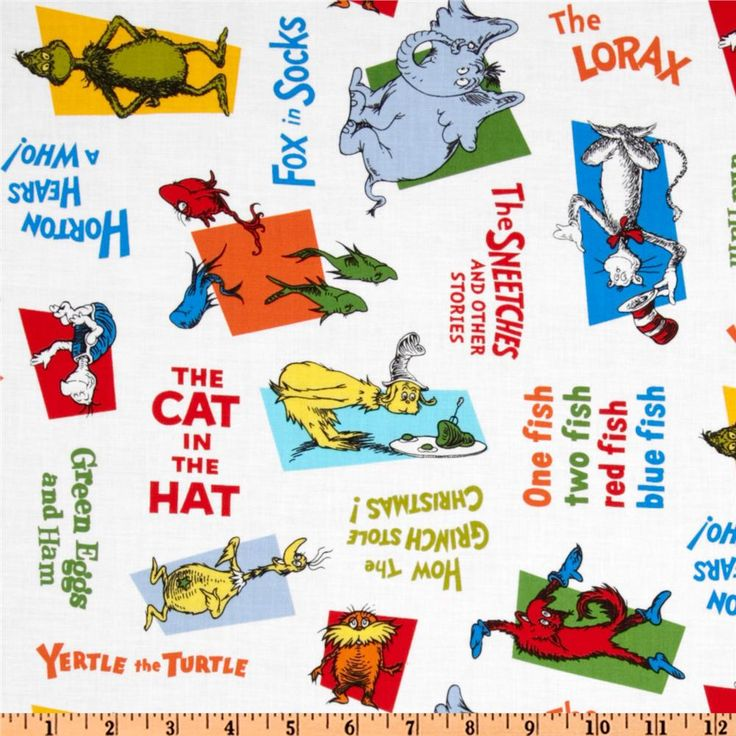 Celebrate Seuss Allover Titles White Quilt Colors And