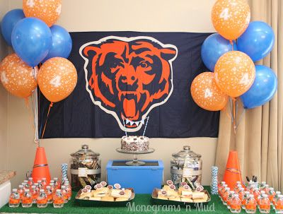 Chicago Bear's Football Birthday Party: great link full of food and decor ideas for a birthday or tailgate. cake with mini bunting, chicago bears cupcake toppers and more