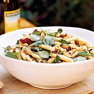 Smoked Gouda & Penne Pasta Salad (the only thing that I do differently is add fresh minced garlic and red onion as well-it gives it more flavor, and you can also use olive oil in place of the mayo)...my fav