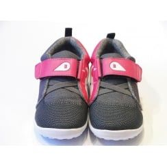 Girls Bobux Shoes - Unicorn Blaze Grey & Pink Barefoot Casual Shoes