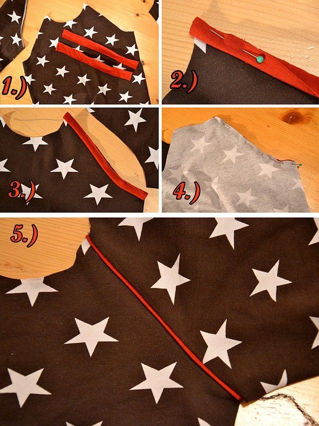 Sternen-T-Shirt in braun (Mit Mini-Tutorial zu den eingenähten Paspeln an den Ärmeln) - Schnitt aus der Ottobre 2013