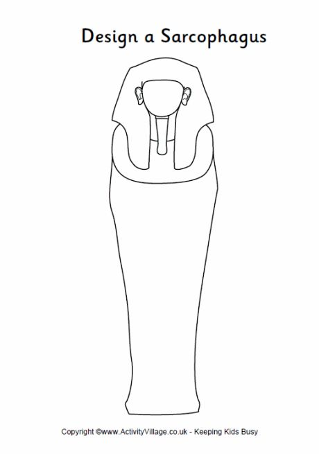 Design a sarcophagus printable - outline sarcophagus to fill in