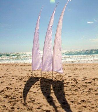 Eternal Weddings Décor and Photography. Beach Wedding, Bali Flags. Wedding Decorations. Beach. Sand