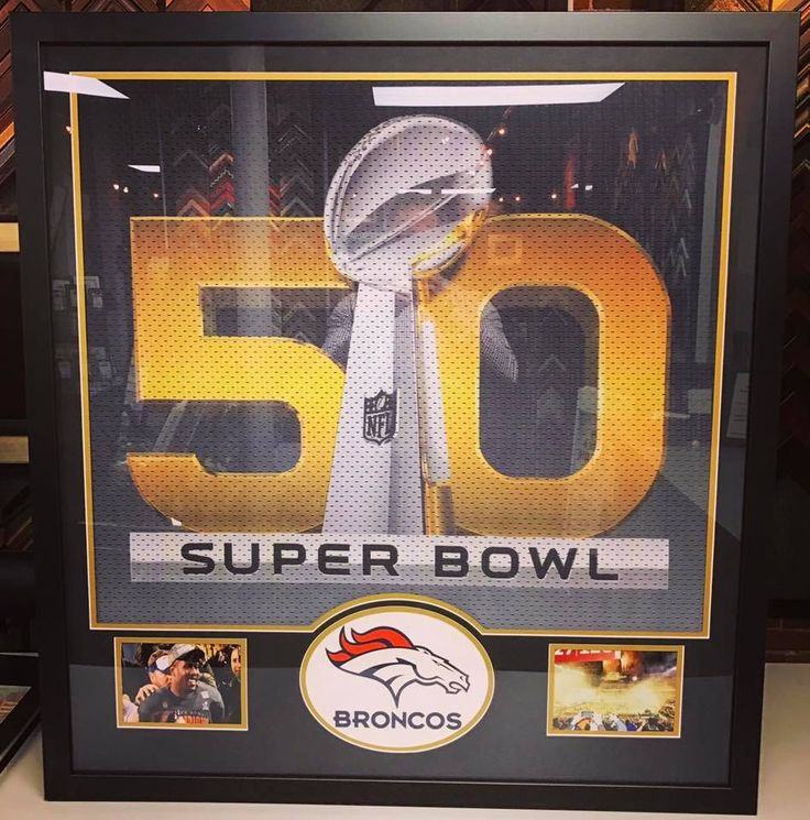 🏆🏉 Good luck tonight on Sunday Night Football on NBC, #Broncos! Check out this flag we recently framed that hung at Super Bowl 50! The piece includes acid-free matting, UV acrylic and a laser cut logo. Come see why we are Colorado's premier sports framer! #denver #colorado #denverbroncos #sportsframing #sb50 #worldchamps #broncoscountry #unitedinorange
