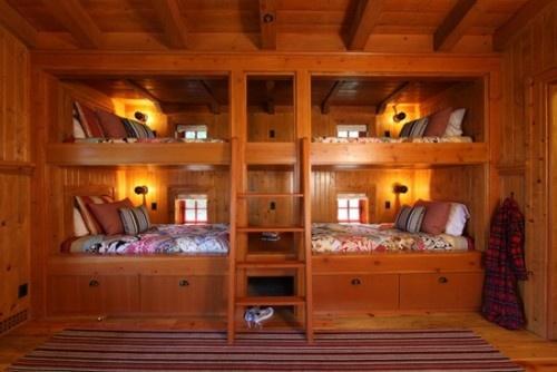 nice: Cabin, Idea, Bunk Beds, Boys Rooms, Bunk Rooms, Beds Design, Wood Houses, Kids Design, Kids Rooms