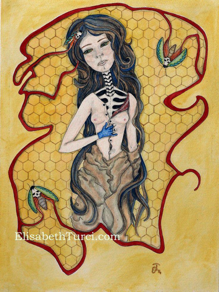 """La Jeune fille-Phalène"" by Elisabeth Turci  #watercolor #inkonpaper #ink #girl #moth #dark #gothic #darkart #art #elisabethturci"
