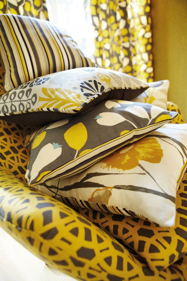 Retro fabrics in sunshine yellow and grey from Scion's Melinki collection!