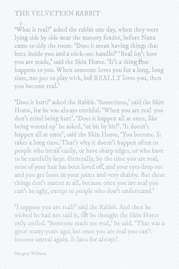 The Velveteen Rabbit Speak To Me Of Love.