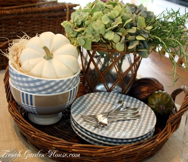 Autumn French Country Soup & Table Setting - love the great dishes by French Garden House