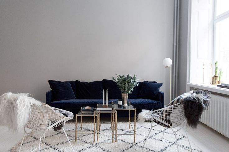 Beni Ourain rug and the Perfect Blue Velvet Couch | Carolina Engman Home