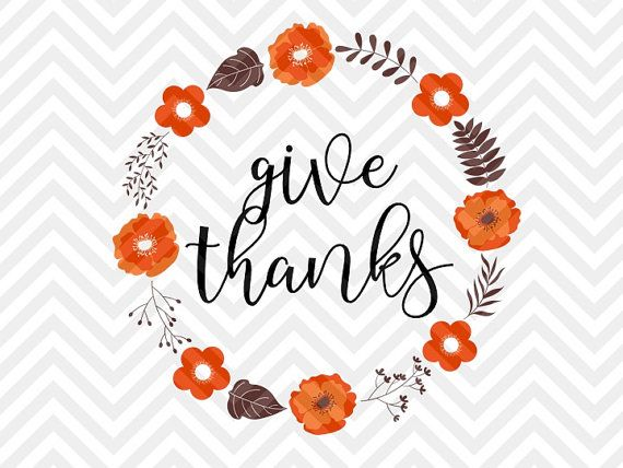 Give Thanks Fall Thanksgiving Wreath Grateful Heart Svg