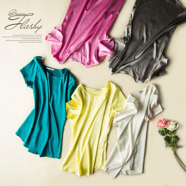 Silk T SHIRT 100% Natural silk Satin Women T shirt Short sleeve Solid casual Top Blusas femininas 2016 Spring Summer