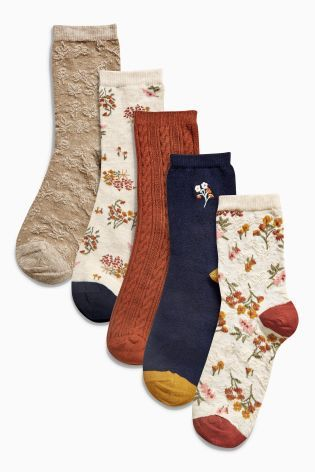 Buy Cream Pattern Floral Ankle Socks Five Pack online today at Next: United States of America