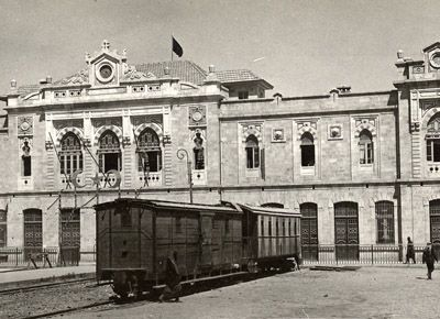 Photograph of the Hejaz Train Station in Damascus, ca.1914-1918.The Damascus to Medina railroad was inaugurated in 1908,but the station itse...