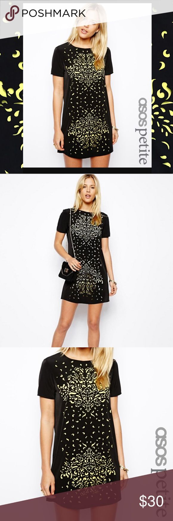 ASOS PETITE T-Shirt Dress With Lasercut Detail ASOS PETITE Exclusive T-Shirt Dress With Lasercut Detail. Black with neon yellow lining that shows brought to create the design. Excellent condition. ASOS Dresses