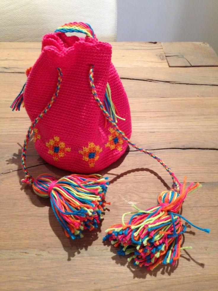 Crocheted my own mini Mochila bag Made by Marjolein