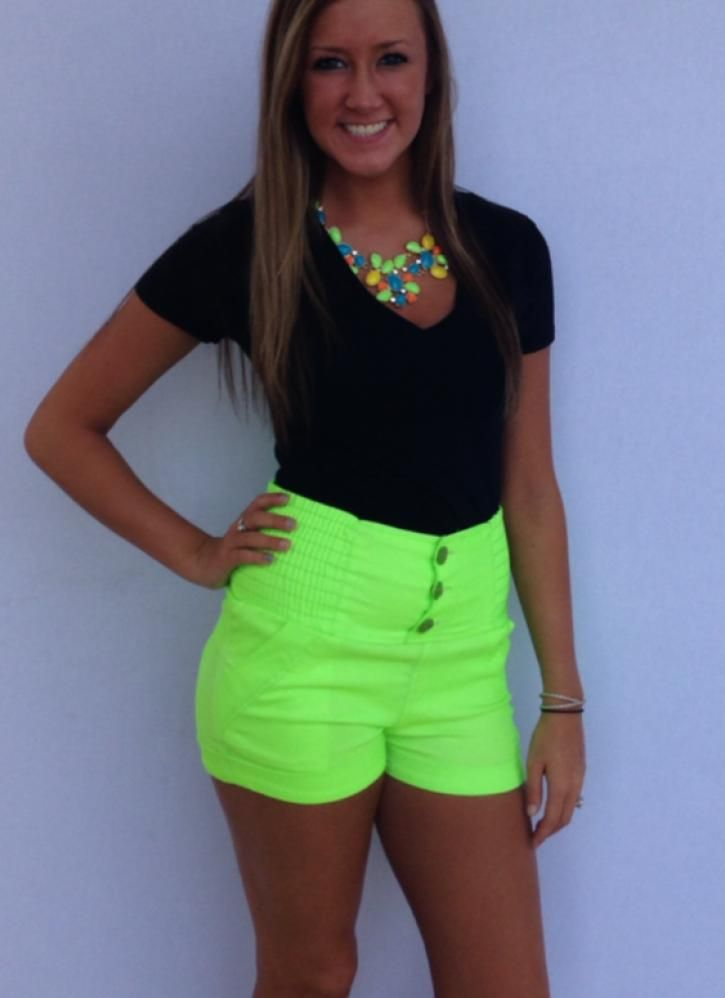 High Waisted Neon Shorts