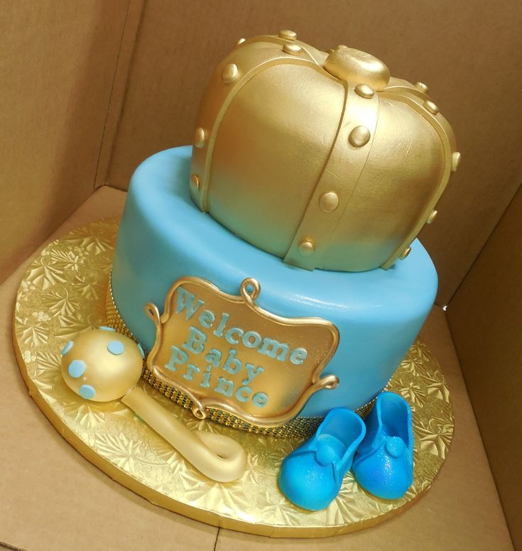 Elegant Calumet Bakery Baby Shower Cake With Gold Crown Tier With Rattle And  Booties.
