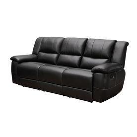 Coaster Fine Furniture Lee Black Faux Leather Sofa 601061