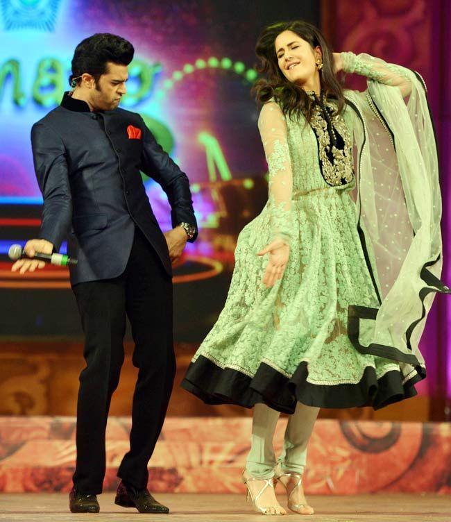 Manish Paul and Katrina Kaif at the Umang Mumbai Police Show 2015. #Bollywood #Fashion #Style #Beauty