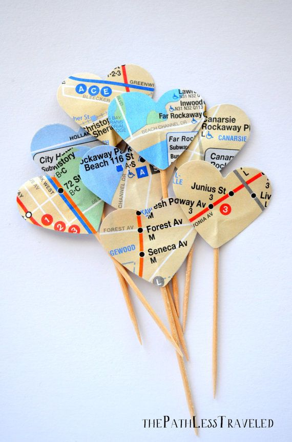 12 Heart Cupcake Picks, made from New York Subway Maps on Etsy, $3.72