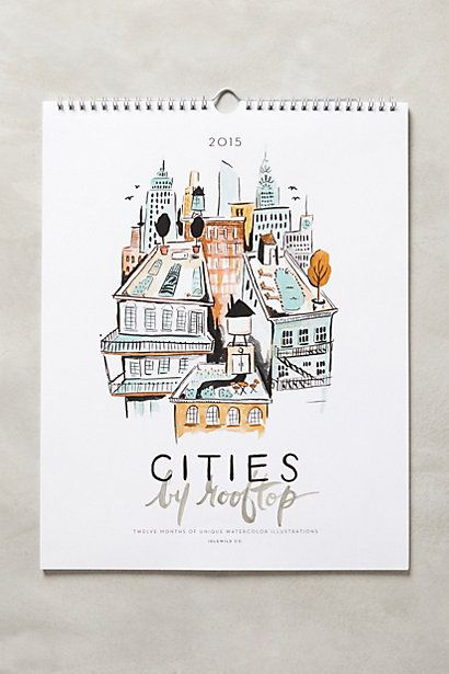 Cities By Rooftop 2015 Calendar - anthropologie.com