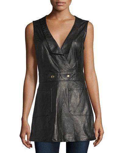 Frame+Denim+Leather+Waistcoat+Jumper+Noir+|+Dress+and+Clothing