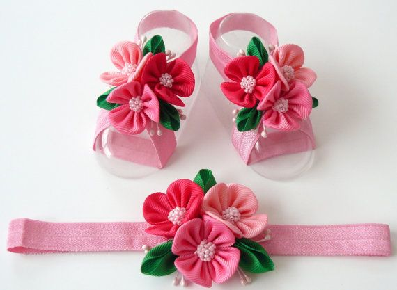 Baby Headband and Baby Barefoot Sandals. Baby shoes. Baby por JuLVa