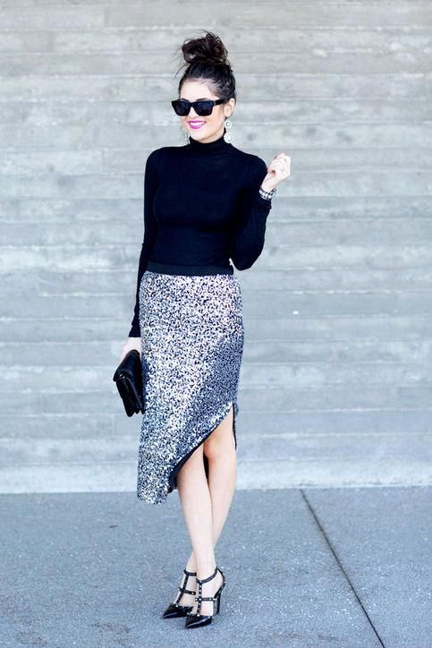 8 Totally Chic Ways to Style Your Sequined Skirt This Season
