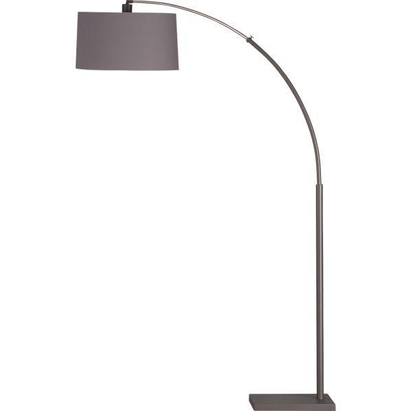 Dexter arc floor lamp with grey shade floor lamp dexter for Dexter arc floor lamp with white shade