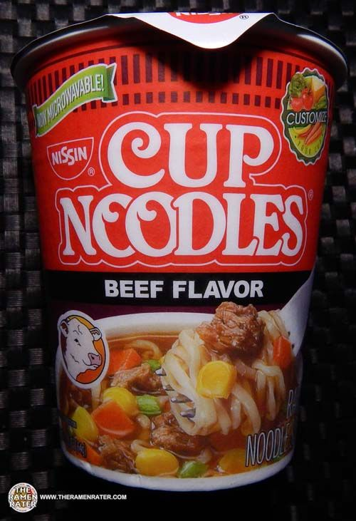 #1802: Nissin Cup Noodles Ramen Noodle Soup Beef Flavor [New Package] - The Ramen Rater reviews this new instant noodle cup from the United States