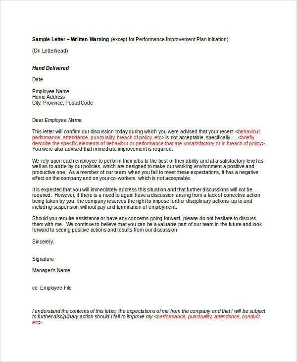 Employee Warning Letter Templates Employee Warning Letter