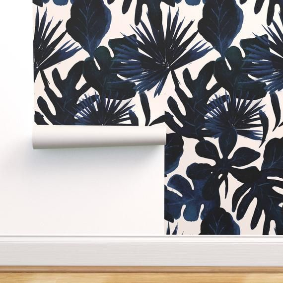 Navy Jungle Wallpaper Tropical Leaves Midnight By Crystal Etsy Jungle Wallpaper Spoonflower Wallpaper Wallpaper Roll