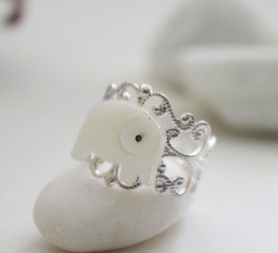 Good Luck Elephant Ring Mother of Pearl