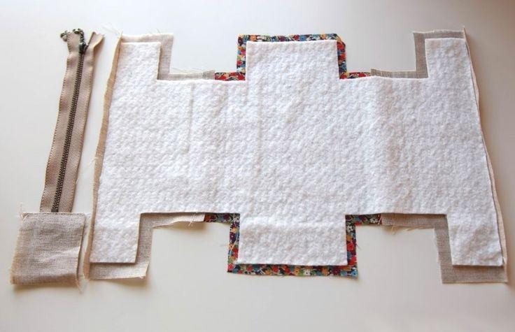 Cómo hacer que linda bloque de cremallera de la bolsa / bolso.  DIY tutorial de la foto y el patrón de plantilla.
