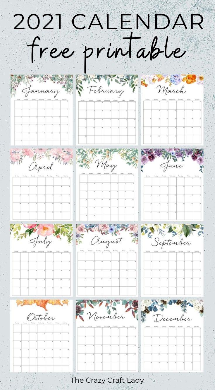 2021 Free Printable Floral Wall Calendar | Monthly calendar