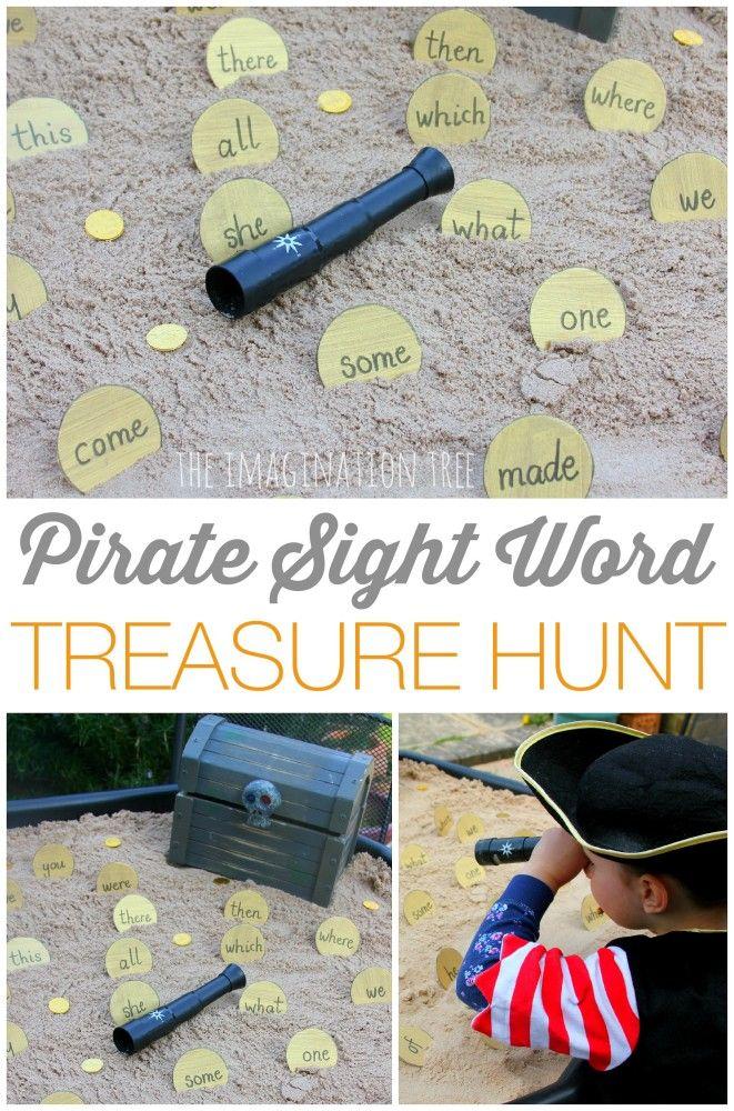 Pirate sight word treasure hunt game