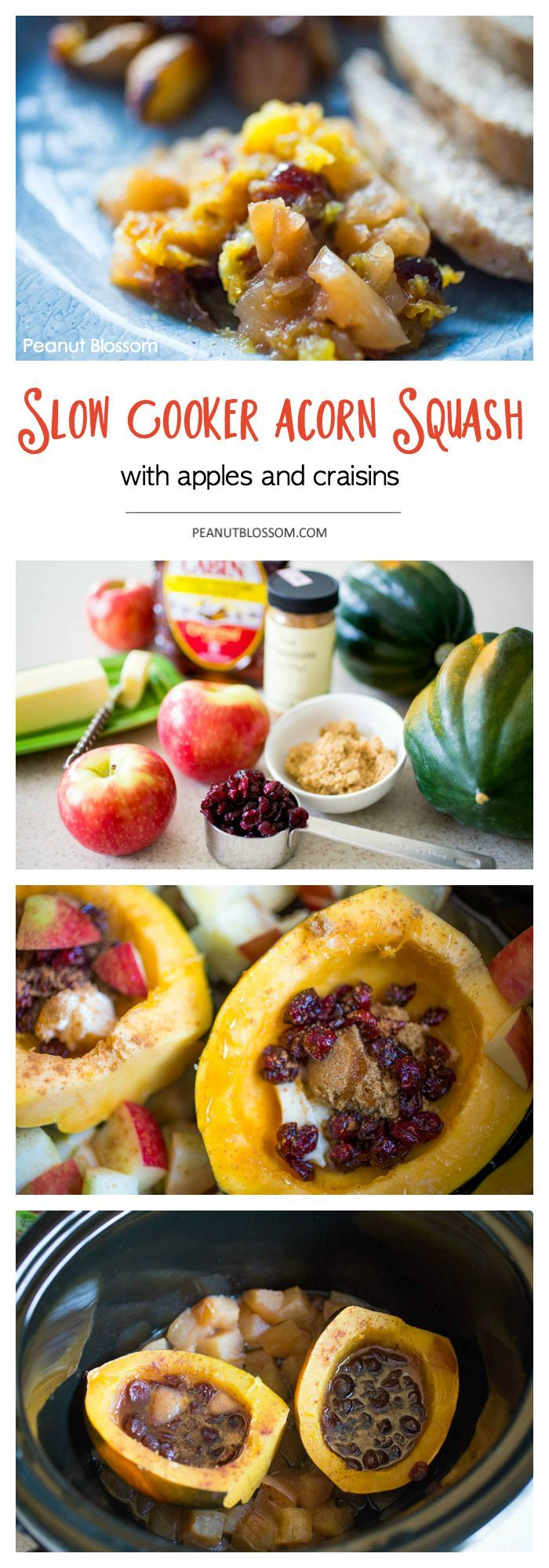 While your main dish is in the oven, make this easy side dish right in your slow cooker! Acorn squash with apples and craisins: a little brown sugar, cinnamon, and maple syrup make this the hit of a fall dinner. Would make a great thing to bring for Thanksgiving too!