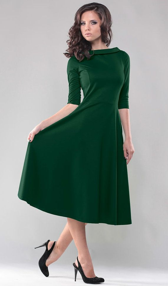 Hey, I found this really awesome Etsy listing at https://www.etsy.com/listing/200922285/green-dress-midi-dress-autumn-green