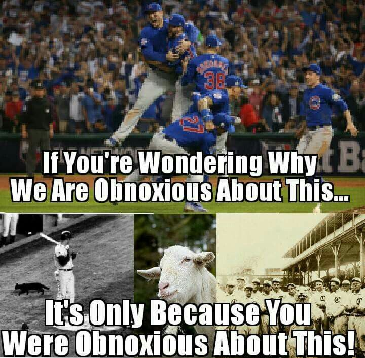 Dear White Sox and Cardinal Fans, We promise to be only as obnoxious about the Cubs winning the World Series as you guys were about curses, billy goats, black cats, 1908 and Bartman... Love, Cubs Fans
