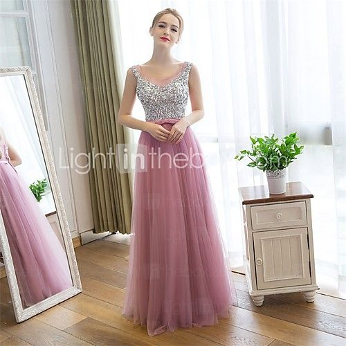 Prom / Formal Evening Dress Sheath / Column Scoop Floor-length Satin / Tulle with Sequins 2016 - $89.99