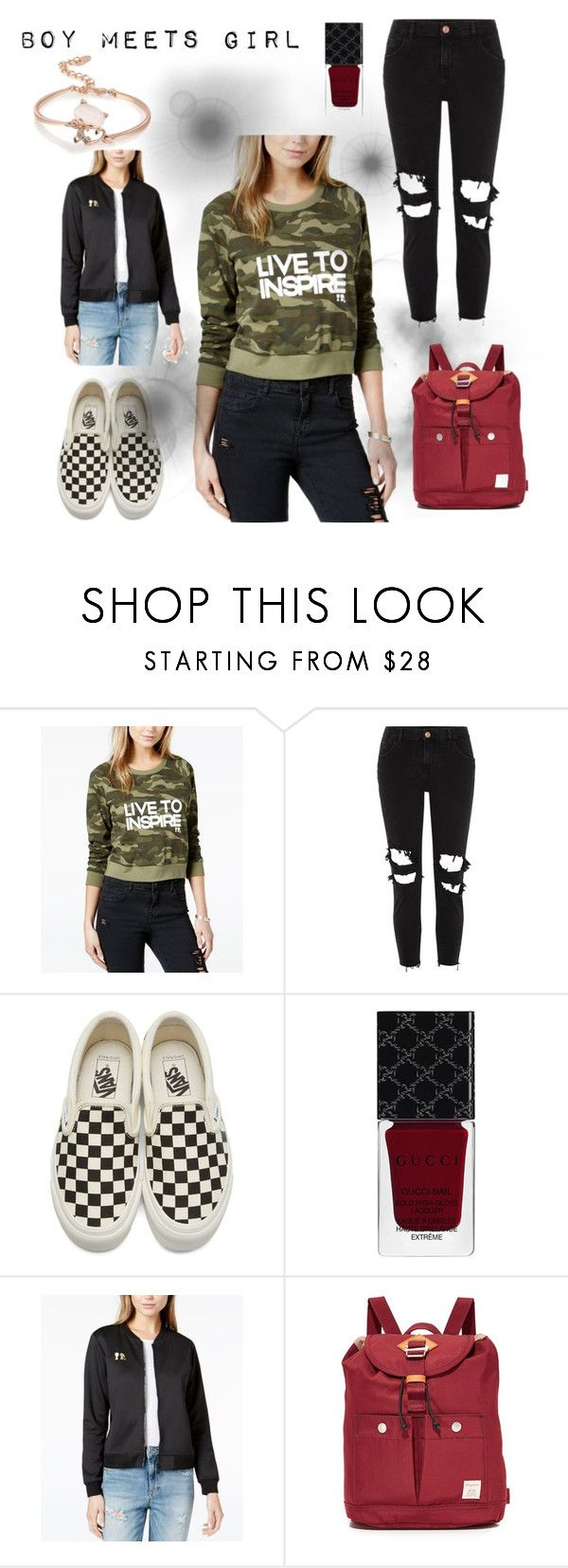 """Boy Meets Girl #1: Hit the Streets"" by hannahsvenssonn ❤ liked on Polyvore featuring Boy Meets Girl, River Island, Vans, Gucci, Doughnut, boymeetsgirl and livetoinspire"