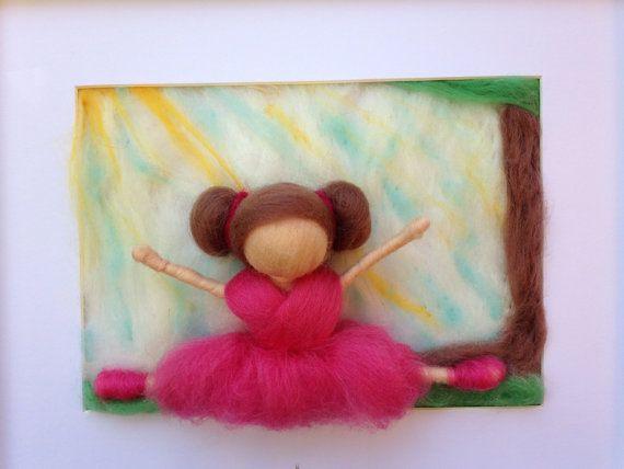 Custom 3D Needle Felted Artwork Ballerina by kniteeney on Etsy, $45.00
