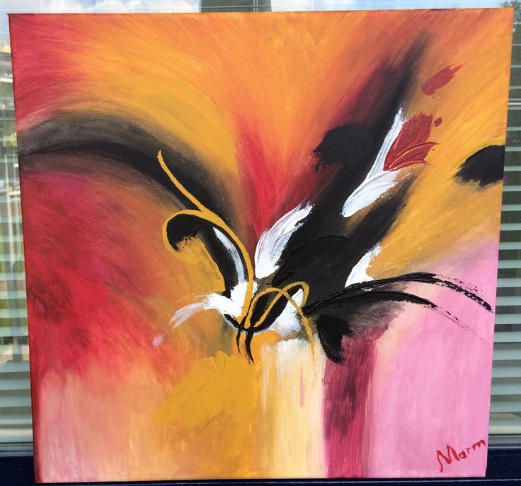 Naam: De Bloem  Afmetingen: 50x50 Extra informatie: handgeschilderd; acrylverf en oliverf op canvas doek; meegeschilderde zijkanten; direct op te hangen; gesigneerd.