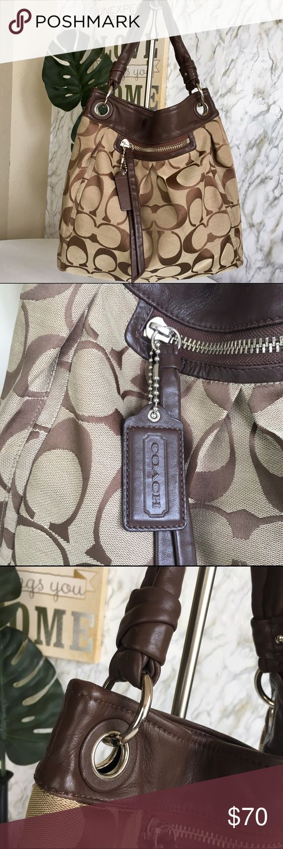 Coach hobo bag Good used condition, leather and canvas👜no bad odor, No smoking Home 🏡 Normal mark of use 👜 Coach Bags Shoulder Bags