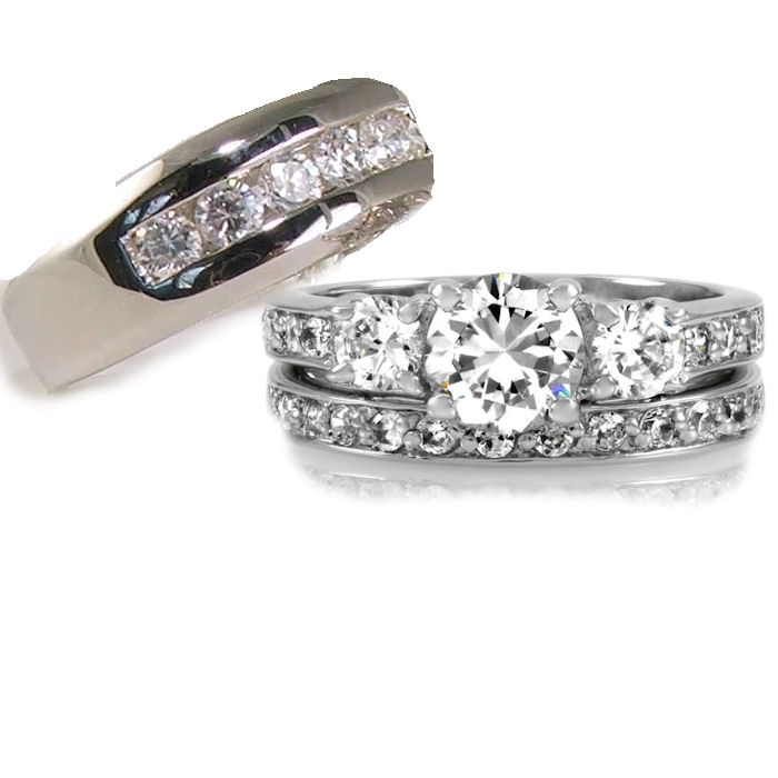 edwin earls his and hers wedding ring set - Inexpensive Wedding Ring Sets