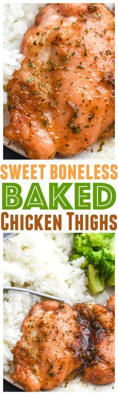 Sweet baked boneless chicken thighs recipe cooks up in less than 30 minutes! A chicken recipe that is loaded with flavor (garlic too!) via @CourtneysSweets