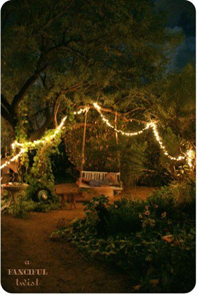 gypsy: Night Garden, Gardens Ideas, Backyard Dreams, Gardens Swings, Dreams Backyard, Night Lights, Fairies Lights, Outdoor Spaces, Backyard Lights Trees