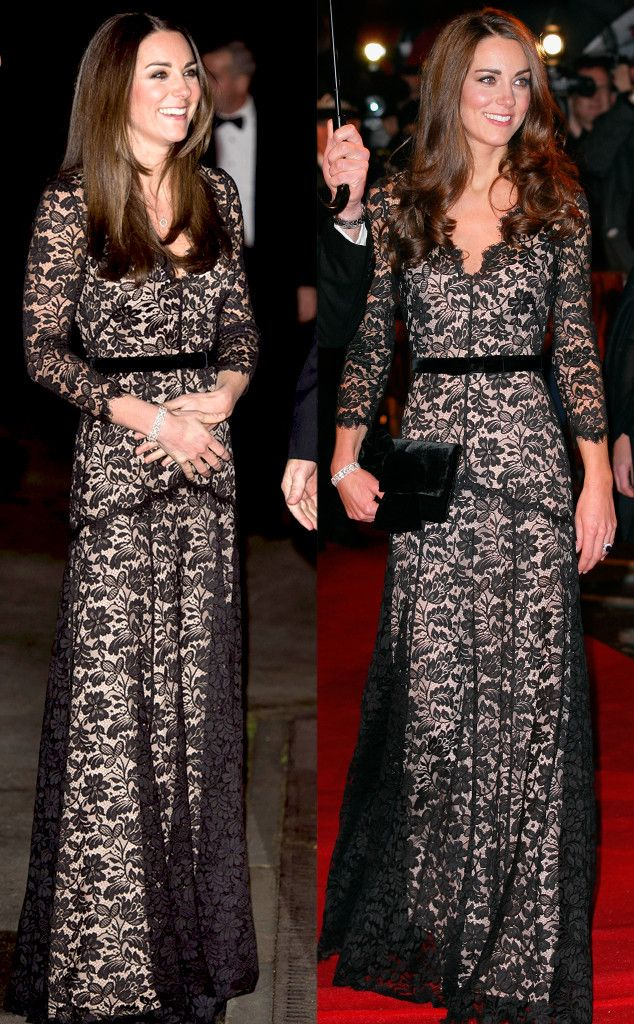 Kate Middleton wears her black lace Alice Temperley dress for another event. Love this look! #fashion