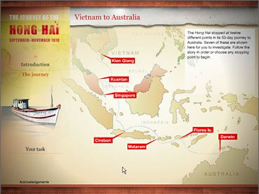 'Hong Hai' took 38 people on a 51-day voyage to Australia from Vietnam in 1978. Research in pairs why they took this journey & the conditions endured. One member of the pair research from the perspective of the asylum seeker and the other from the perspective of a journalist who is keen to help 'stop the boats' . Be ready to play your role in the class press conference.